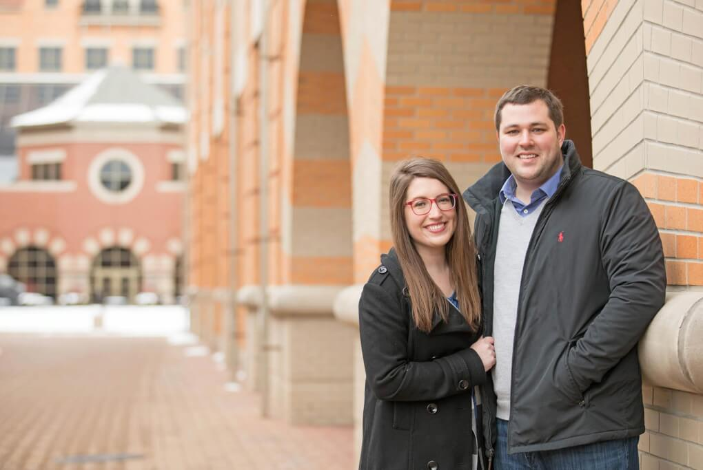 Layna and Andrew Buthker are pictured on the Pew Campus downtown Grand Rapids.